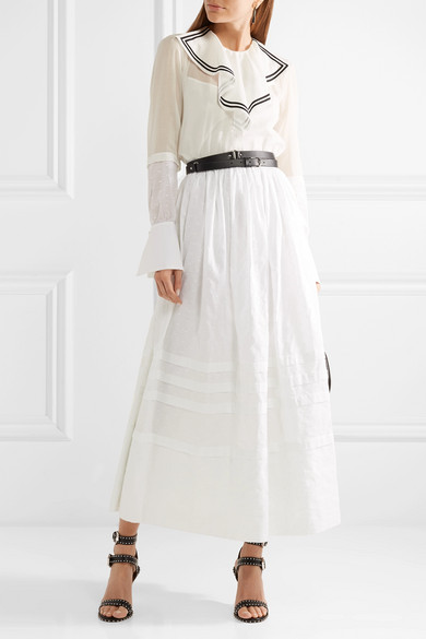 Sailor Ruffled Cotton-voile And Point Desprit Maxi Dress - White Philosophy di Lorenzo Serafini bG9cge