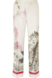Etere printed silk-twill pants