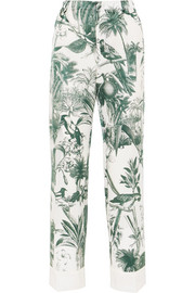 Etere printed cotton and silk-blend twill straight-leg pants