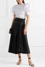 Ida belted satin wrap skirt