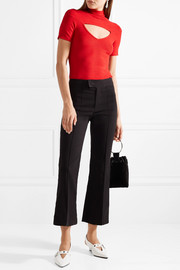 Zinner cutout ribbed stretch-knit turtleneck top