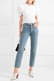 Estela gathered cotton-blend poplin blouse