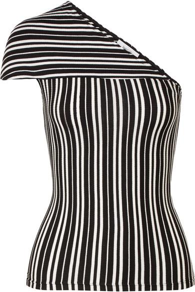 Beaufille Mensa Oberteil aus geripptem Stretch-Strick mit Streifen und asymmetrischer Schulterpartie
