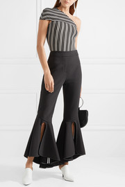 Mensa one-shoulder striped ribbed stretch-knit top
