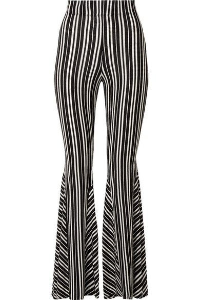 BEAUFILLE Lamos striped ribbed stretch-knit flared pants