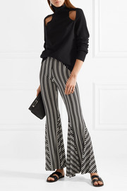 Lamos striped ribbed stretch-knit flared pants