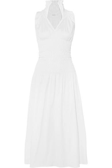 BEAUFILLE Daphne Sleeveless Smocked Cotton Shirting Dress in White