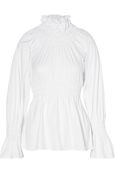 Beaufille Galileo Ruched Blouse Made From A Cotton Blend Poplin