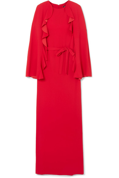 Cape-back ruffled crepe gown