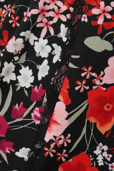 Goen J Wickelkleid in Minilänge aus Crêpe de Chine mit Blumendruck und Spitzenbesatz