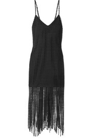 Fringed macramé cotton midi dress