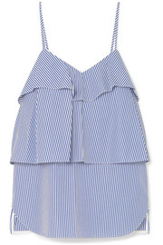 Ruffled striped cotton-poplin camisole