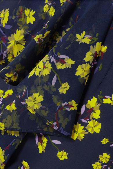 Goen J Asymmetric Midi Rock From Floral Printed Chiffon With Ruffles