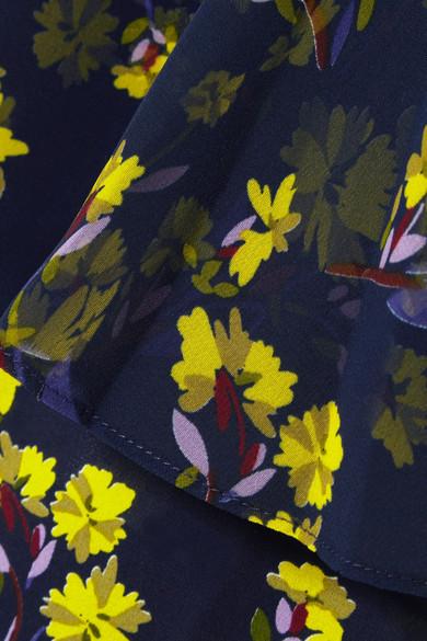Goen J Top aus Chiffon mit Blumenprint und Volants
