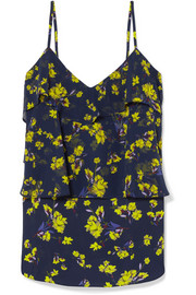 Ruffled floral-print chiffon camisole