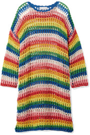 Striped crocheted cotton dress