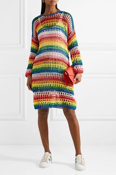 Mira Mikati Gestreiftes Kleid aus gehäkelter Baumwolle