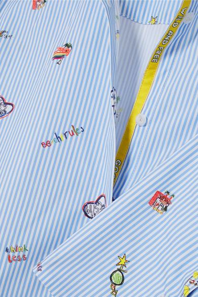 Mira Mikati Venice Beach bedrucktes Hemd aus Baumwollpopeline