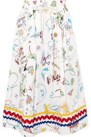 Mira Mikati Printed cotton-blend midi skirt
