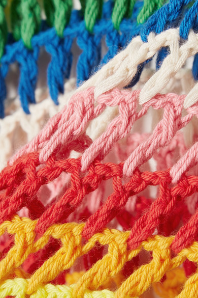 Mira Mikati Gestreifter Pullover aus gehäkelter Baumwolle