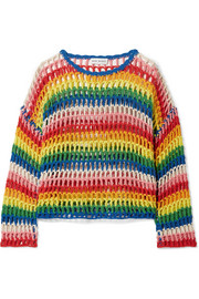 Striped crocheted cotton sweater