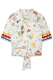 Mira Mikati Printed cotton-blend top