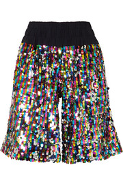 Mira Mikati Sequined tulle shorts