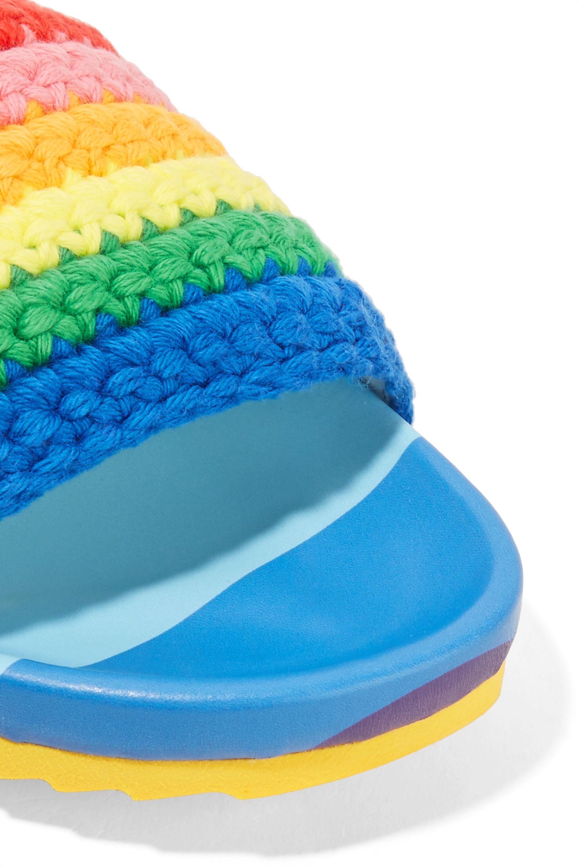 Mira Mikati Striped crocheted cotton slides