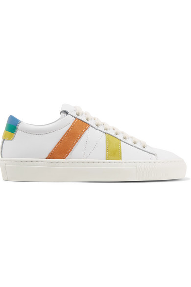 MIRA MIKATI Striped Suede And Leather Sneakers Newest For Sale 100% Authentic For Sale Outlet Manchester Store Sale Online 67XvyP