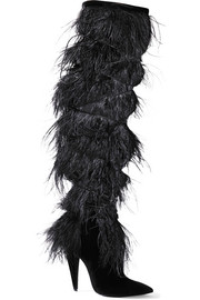 Saint Laurent Yeti feather-trimmed suede over-the-knee boots