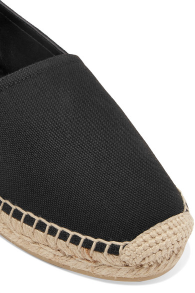 Logo-embroidered Leather-trimmed Canvas Espadrilles - Black Saint Laurent Free Shipping Fake Buy Cheap Visit New Cheap Real Authentic wAfWu