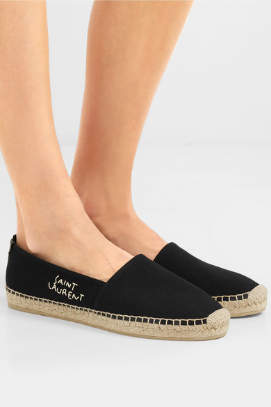 06cfd3f1f SAINT LAURENT | Logo-embroidered leather-trimmed canvas espadrilles ...