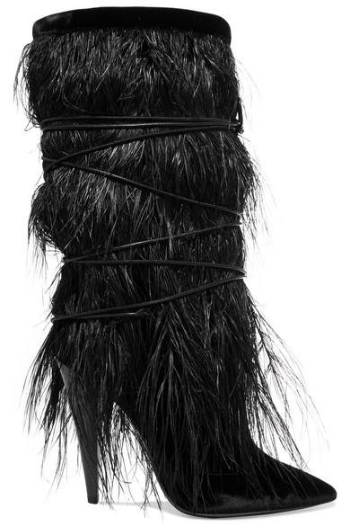Saint Laurent - Yeti Feather-trimmed Velvet Boots - Black
