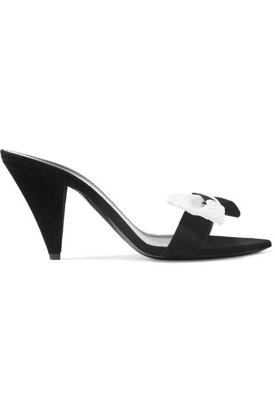 Era Bow-Embellished Suede And Snake Mules in Black