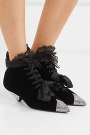 Saint Laurent Blaze crystal-embellished lace-trimmed velvet ankle boots