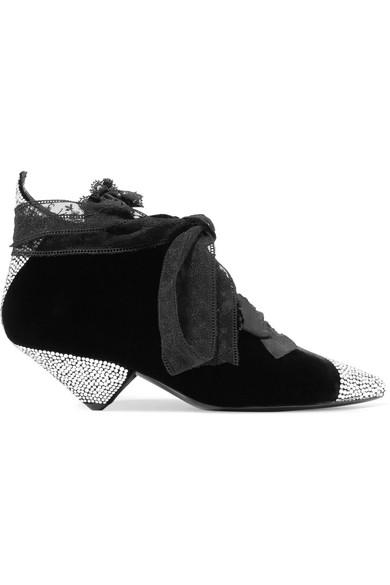 Saint Laurent | Spitzenbesatz Blaze Ankle Boots aus Samt mit Spitzenbesatz | und Kristallen 5cacc1