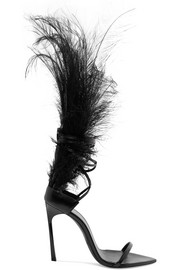 Saint Laurent Talitha feather-trimmed glossed-leather sandals