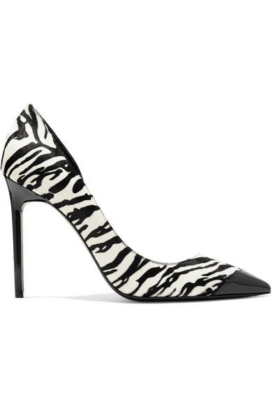 Saint Laurent - Anja Patent-leather And Zebra-print Calf Hair Pumps - Zebra print