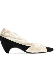 Two-tone knotted satin and faux suede pumps