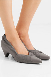 Stella McCartney Knotted faux leather and suede pumps