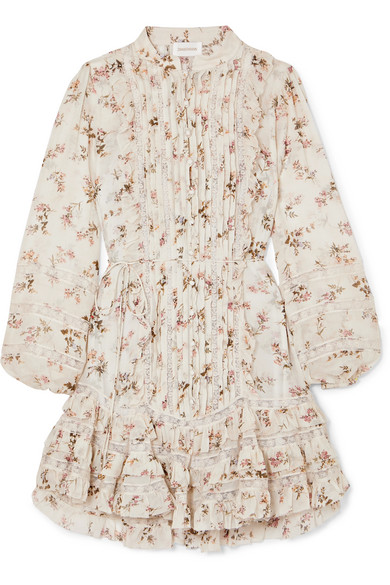 Carpenter Whitewaveschristmas Mini Dress In Printed Georgette In Wrinkle-optic Tip Inserts With