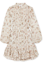 Zimmermann Whitewave lace-paneled printed crinkled-georgette mini dress