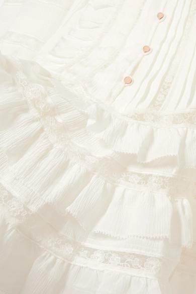 Zimmermann Whitewave Minikleid aus Georgette aus einer Seidenmischung mit Spitzeneinsätzen