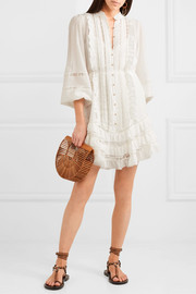 Whitewave lace-paneled silk-blend georgette mini dress