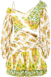 Zimmermann Golden Surfer printed plissé-voile mini dress