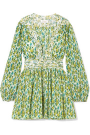 Zimmermann Golden floral-print plissé-chiffon mini dress