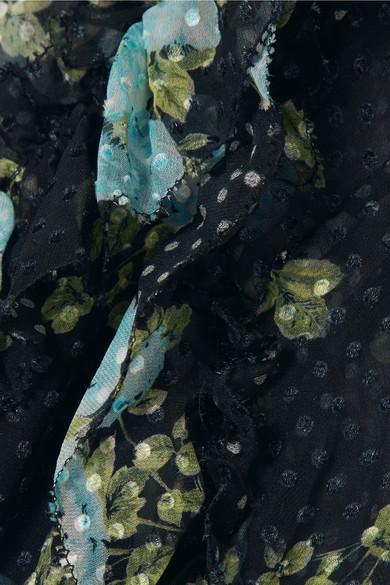 Zimmermann Whitewave bedrucktes Minikleid aus Georgette aus einer Seidenmischung mit eingewebten Punkten und Rüschen in Wickeloptik