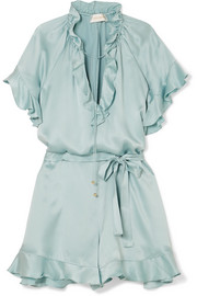 Zimmermann Ruffle-trimmed silk playsuit