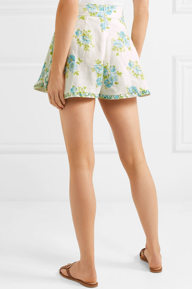 Zimmermann Whitewave Honeymooners Shorts aus Leinen mit Blumendruck