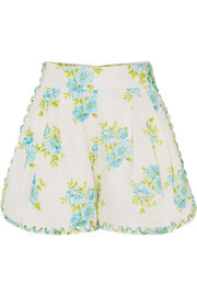 Zimmermann Whitewave Honeymooners floral-print linen shorts